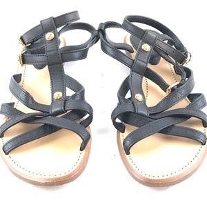 Black Lv Leather Gladiator Sandals
